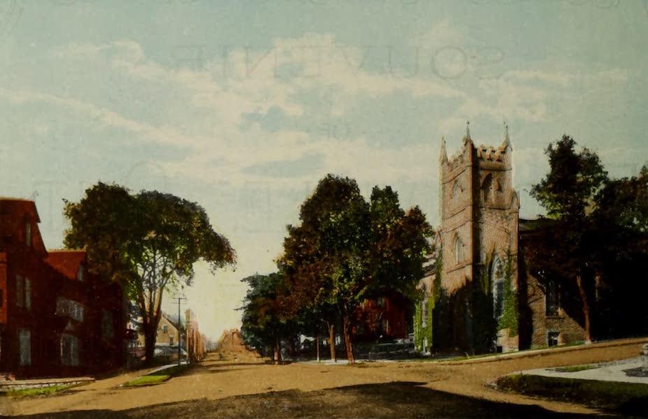 Souvenir of Brockville, Ont. - St. John's Church and King Street, looking West (1910)