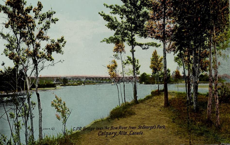 Souvenir of Calgary, Alta. - C.P.R. Bridge over the Bow River from St. George's Park, Calgary, Alta. Canada (1912)