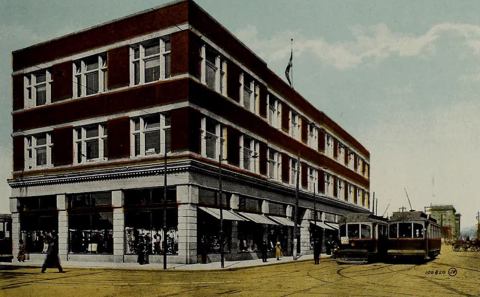Souvenir of Calgary, Alta. - Corner 1st Street West and 12th Avenue, showing Pryce Jones Co.'s Store (1912)