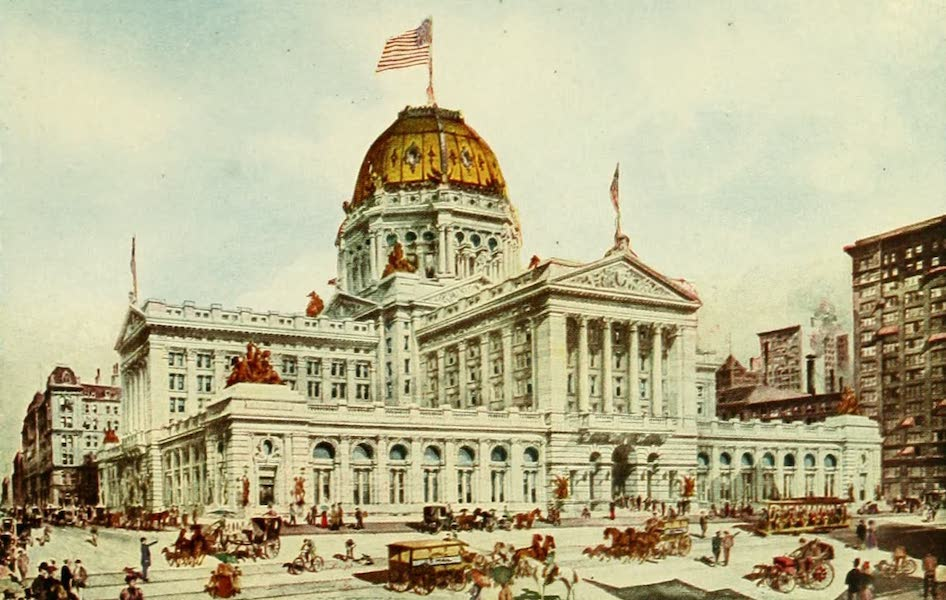 Souvenir of Chicago in Colors - New Post Office Building (1910)