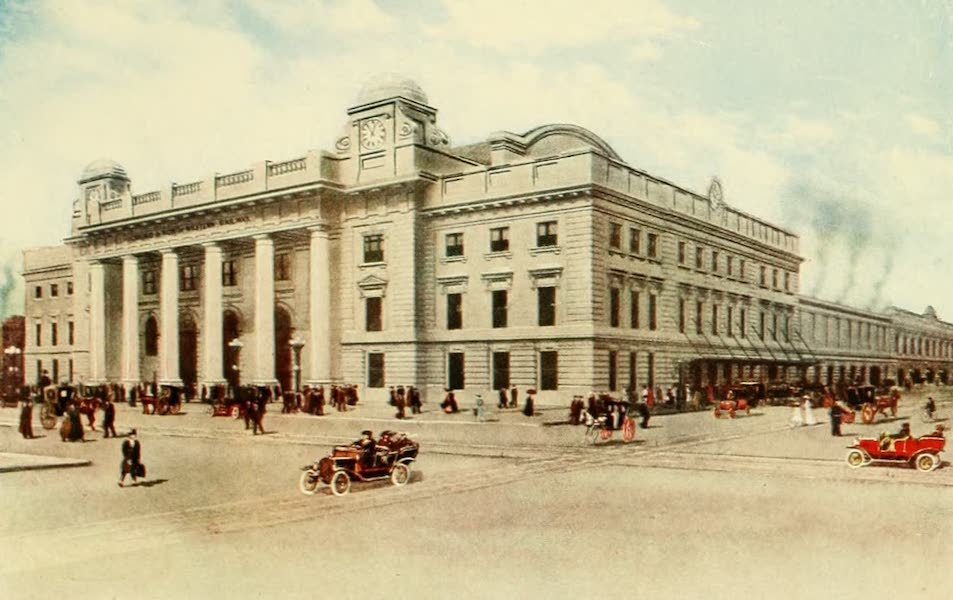 Souvenir of Chicago in Colors - The New Chicago and Northwestern Railway Station (1910)