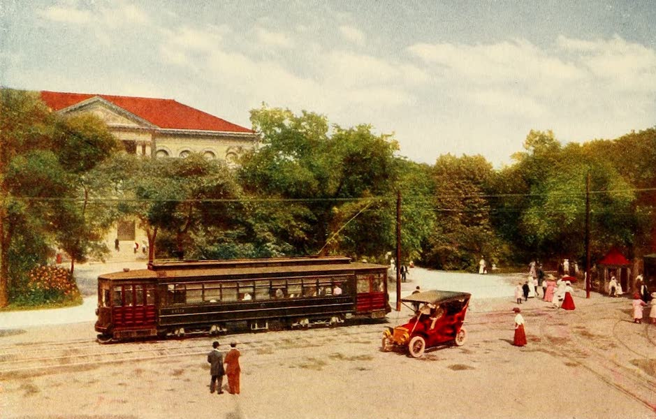 """Souvenir of Chicago in Colors - Entrance to Lincoln Park and New """"Pay-as-you-enter"""" Car (1910)"""