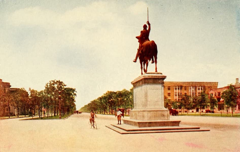 Souvenir of Chicago in Colors - Grand Boulevard and Washington Monument from Washington Park (1910)