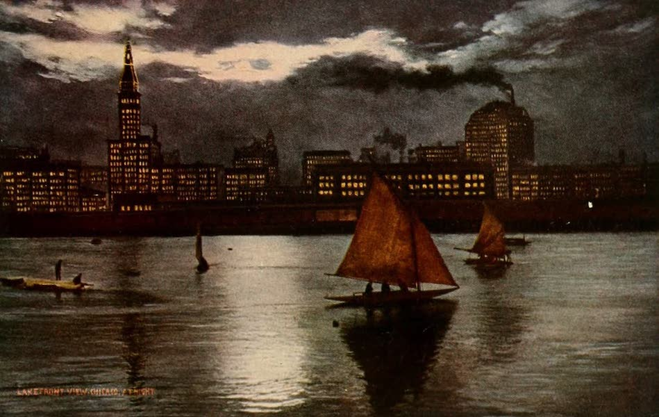 Souvenir of Chicago in Colors - Lake Front View of Chicago at Night (1910)