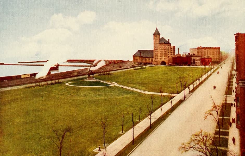 Souvenir of Chicago in Colors - Grant Park and Illinois Central Station (1910)