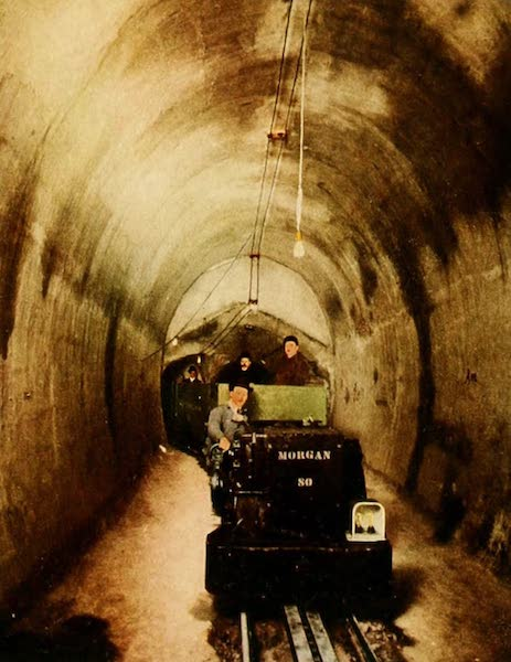 Souvenir of Chicago in Colors - Electric Locomotive in Underground Tunnel (1910)