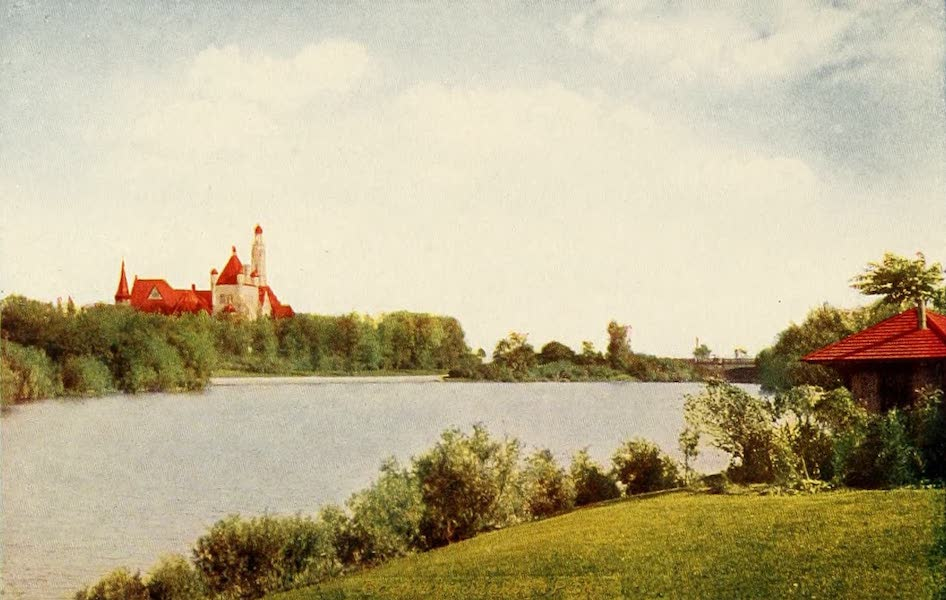 Souvenir of Chicago in Colors - German Building and Lagoon, Jackson Park (1910)