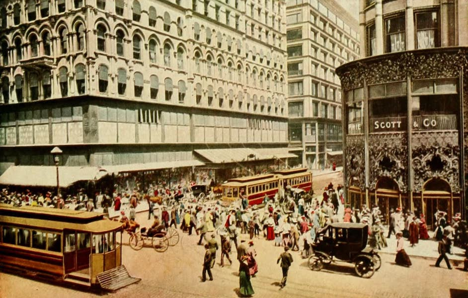 Souvenir of Chicago in Colors - Corner of State and Madison Streets, Chicago (1910)