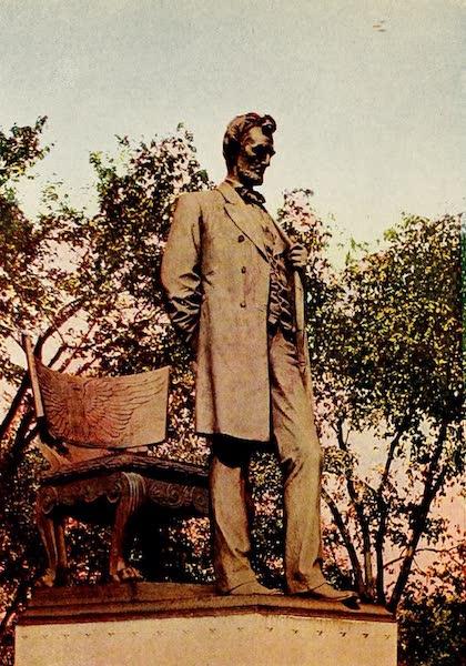 Souvenir of Chicago in Colors - Lincoln Statue, Lincoln Park (1910)