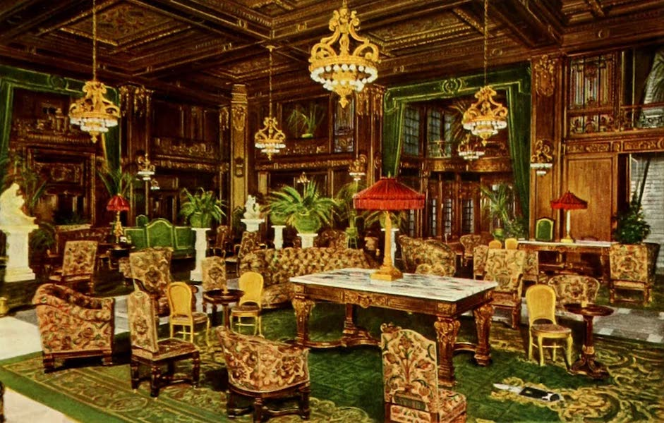 Souvenir of Chicago in Colors - The Main Lobby, Hotel La Salle (1910)
