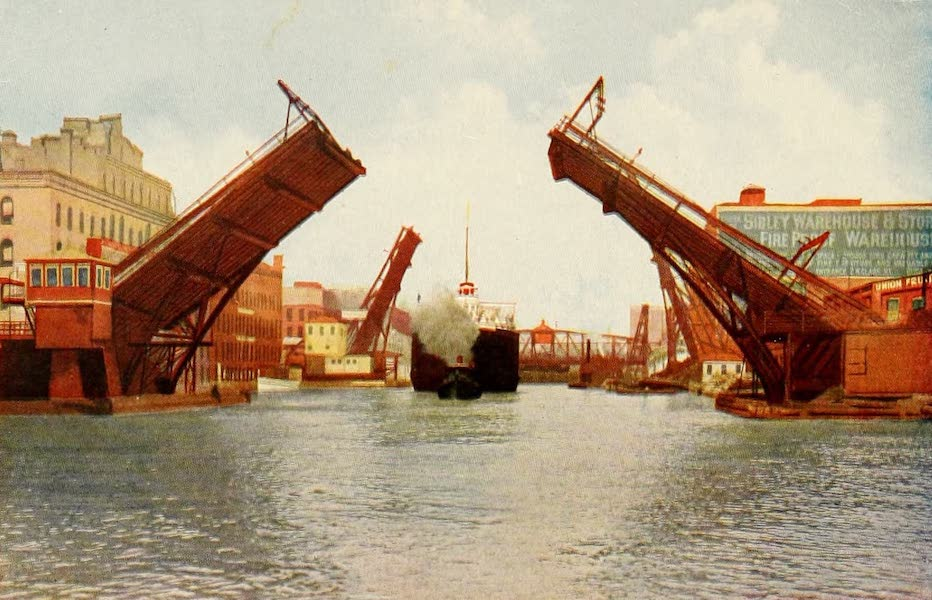 Souvenir of Chicago in Colors - State Street Bascule Bridge Lifted for Steamship 'Soo City' (1910)