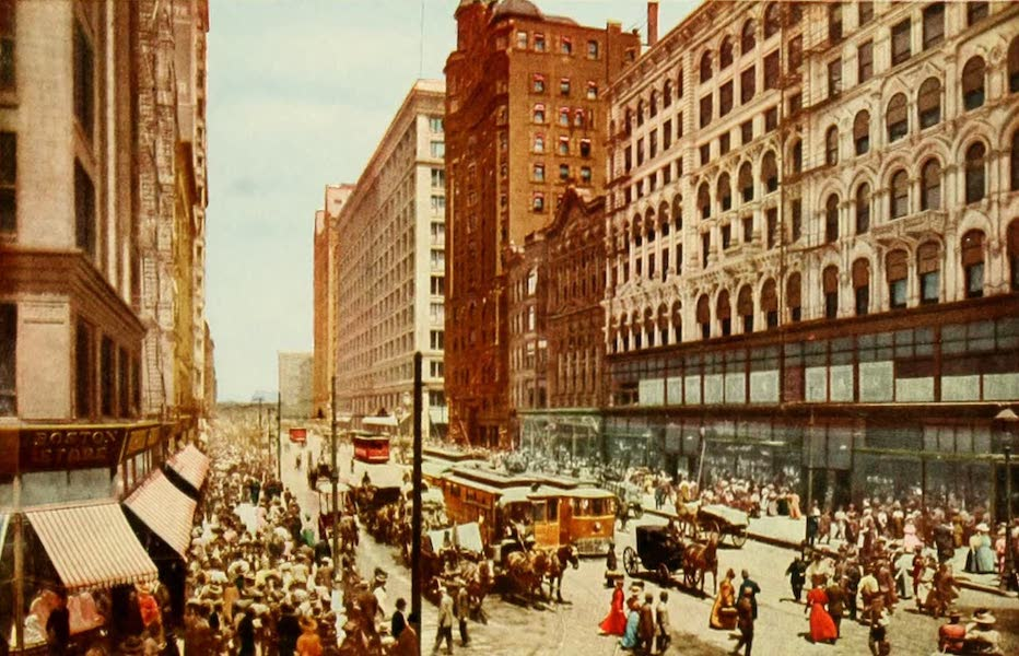 Souvenir of Chicago in Colors - State Street, North from Madison (1910)