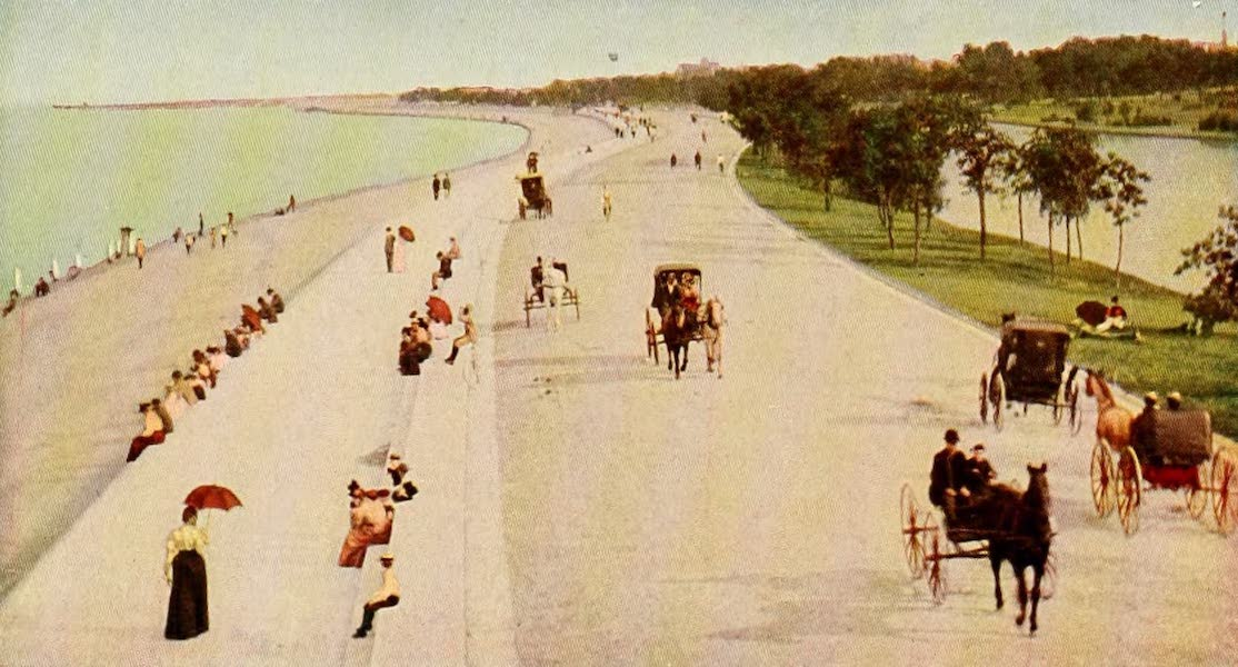 Souvenir of Chicago in Colors - Lake Shore Drive, Lincoln Park (1910)