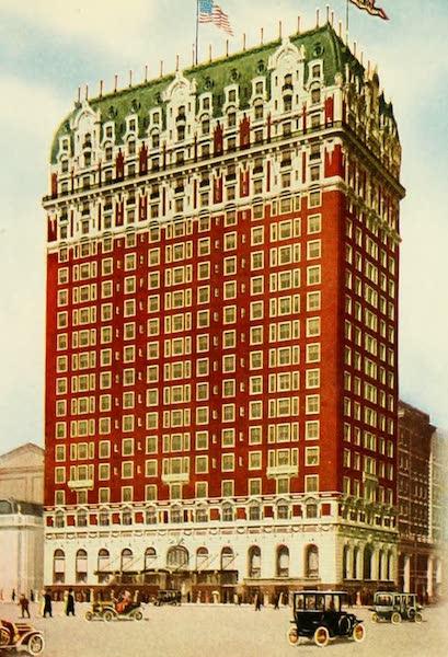"Souvenir of Chicago in Colors - ""The Black Stone"" (Michigan Avenue and Hubbard Court) (1910)"