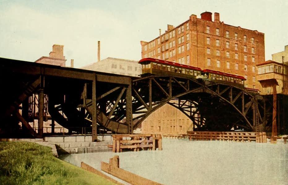 Souvenir of Chicago in Colors - Metropolitan Trains Crossing Bascule Bridge over Chicago River (1910)