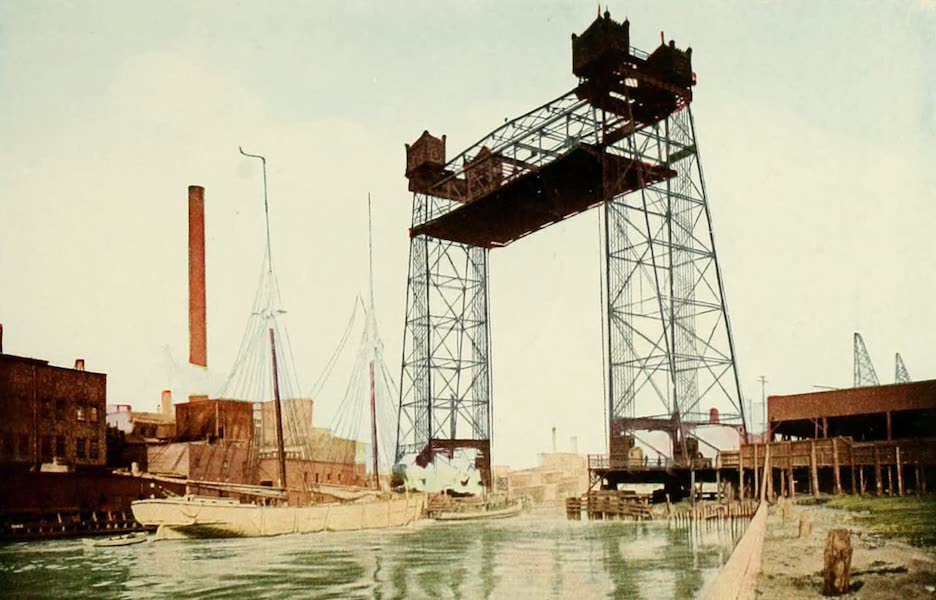 Souvenir of Chicago in Colors - Halsted Street Lift Bridge (1910)