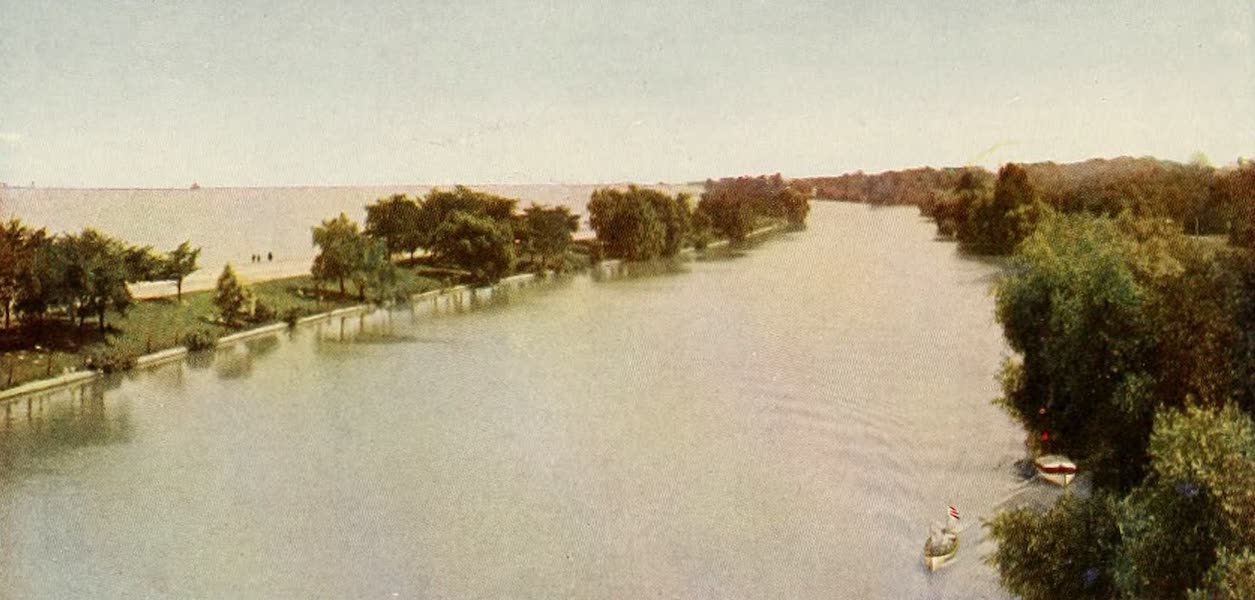 Souvenir of Chicago in Colors - Lagoon in Lincoln Park, from High Bridge (1910)