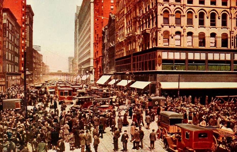 Souvenir of Chicago in Colors - Noon House on State Street (1910)