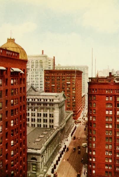 Souvenir of Chicago in Colors - Dearborn Street North from Jackson Boulevard (1910)