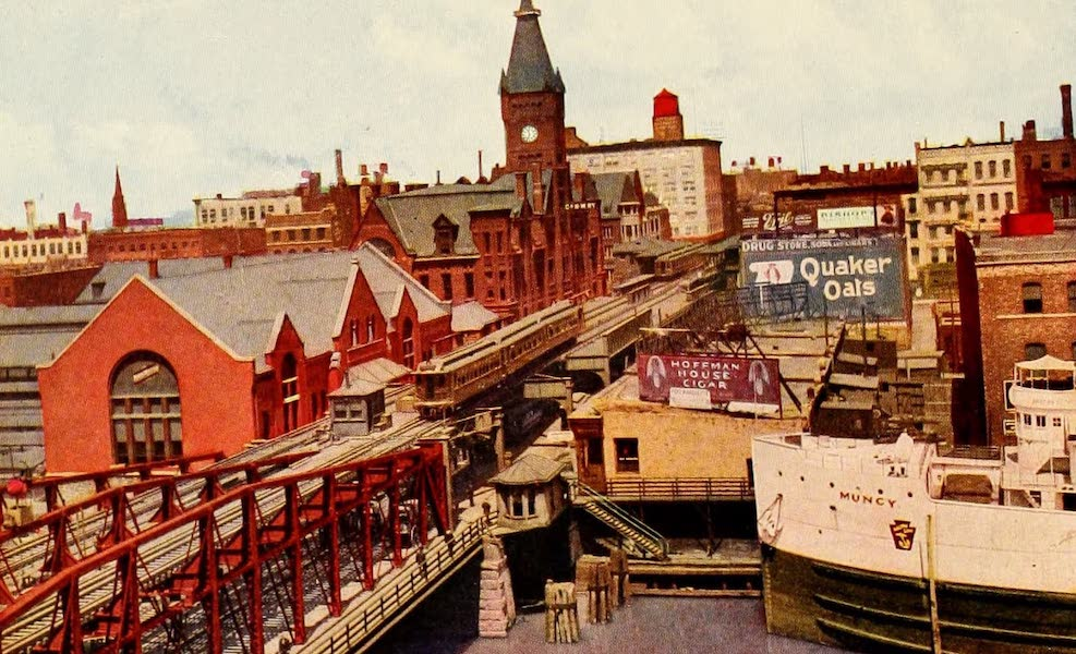 Souvenir of Chicago in Colors - Wells Street Bridge and Northwestern Depot (1910)