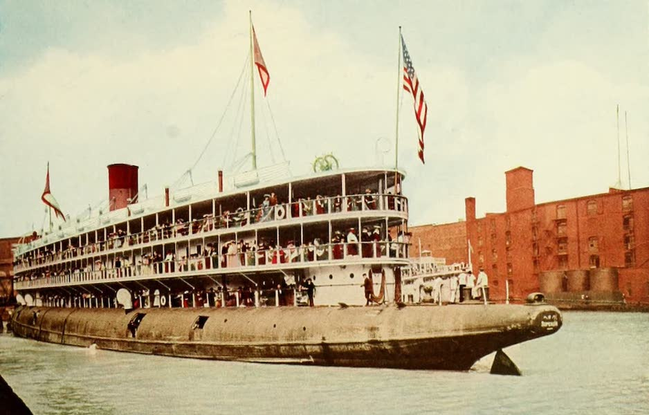 Souvenir of Chicago in Colors - Steamship Christopher Columbus (Whaleback) Entering Harbor at Chicago (1910)