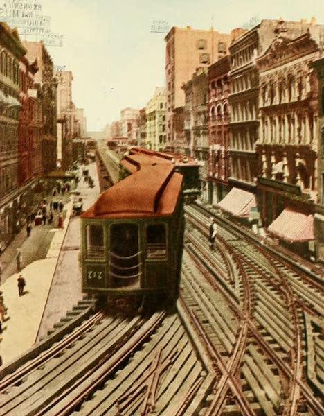 Souvenir of Chicago in Colors - Wabash Avenue and Elevated Railway Looking North from Van Buren Street (1910)