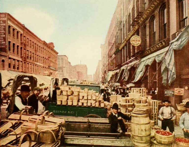 Souvenir of Chicago in Colors - South Water Street (1910)