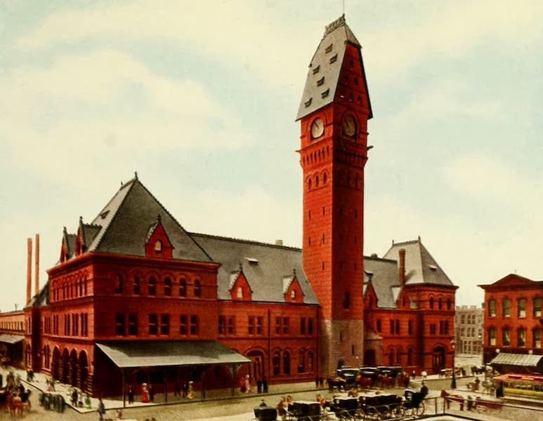Souvenir of Chicago in Colors - Polk Street Station (Dearborn and Polk Streets) (1910)