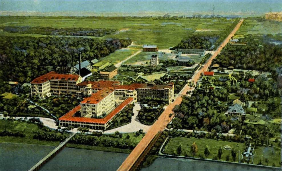 Souvenir of Daytona and Daytona Beach, Florida - Airplane View of Ormond Beach and Atlantic Ocean, Hotel Ormond in Foreground (1917)