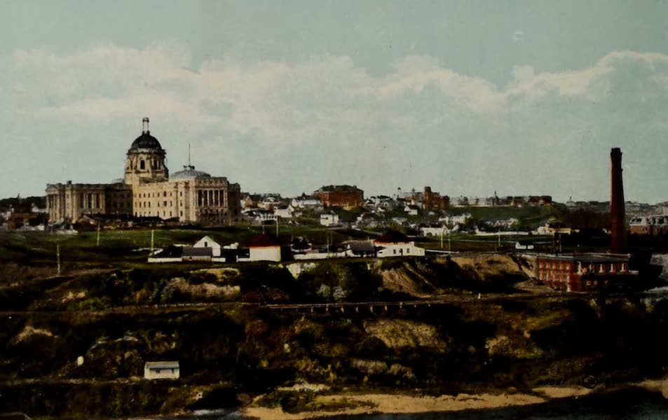 Souvenir of Edmonton, Alta. - Parliament Buildings and Old Hudson's Bay Co. Fort from High Level Bridge (1910)