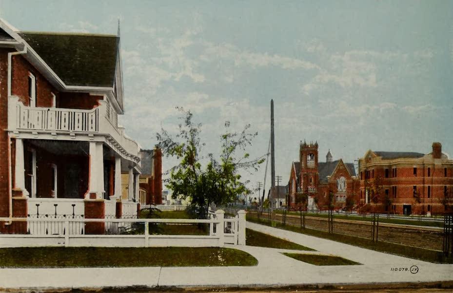 Souvenir of Edmonton, Alta. - First Avenue North, showing Knox Church and Public Library, Edmonton South (1910)