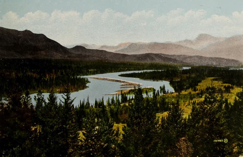 Souvenir of Edmonton, Alta. - View from Wolfe Creek, Mount Geike in distance, Canadian Rockies, G.T.P. Route (1910)