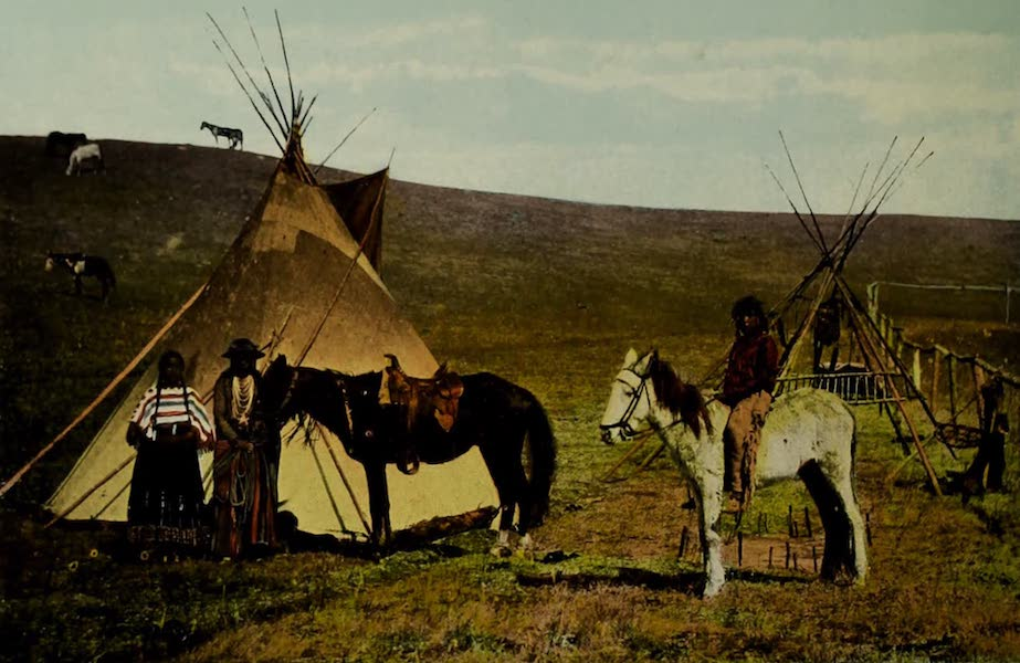 Souvenir of Edmonton, Alta. - Mutsinamakan and Squaw (Sarcee Indians) (1910)