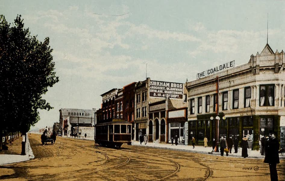 Souvenir of Lethbridge, Alta. - Looking East on Third Avenue from Main Street (1910)