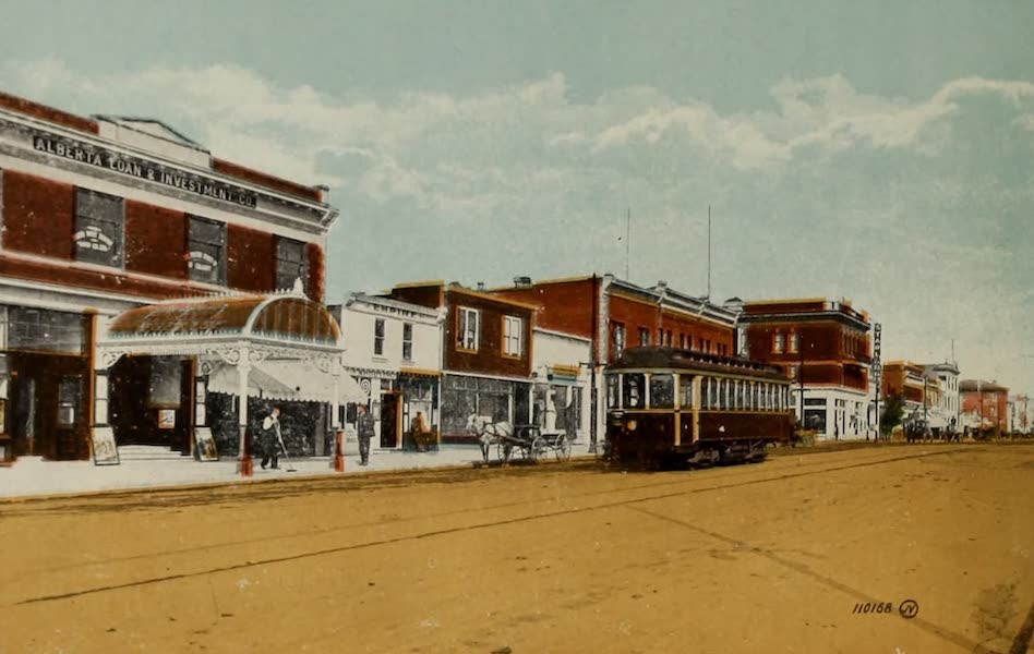 Souvenir of Lethbridge, Alta. - Main Street, showing Morris Theatre (1910)