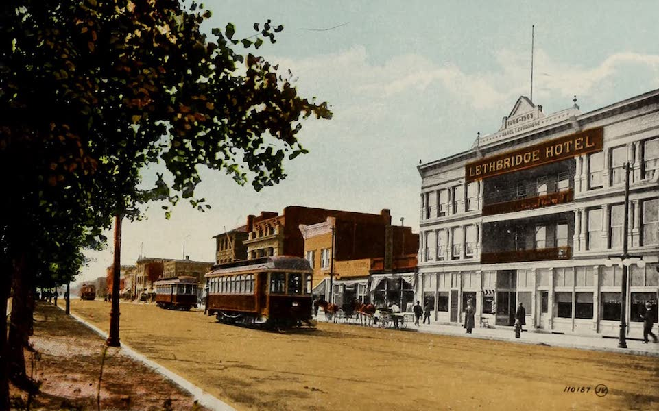 Souvenir of Lethbridge, Alta. - Main Street, looking South, showing Lethbridge Hotel (1910)