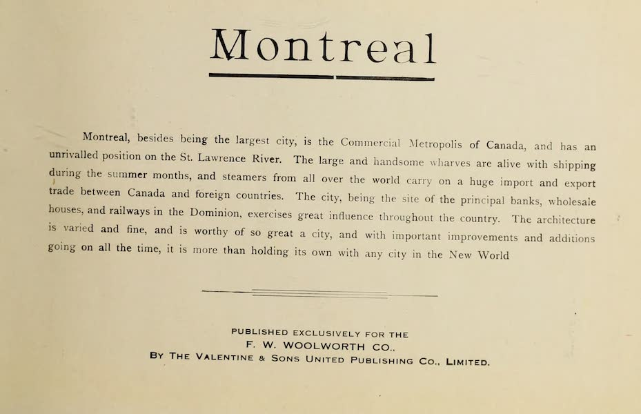 Souvenir of Montreal - Title Page (1910)