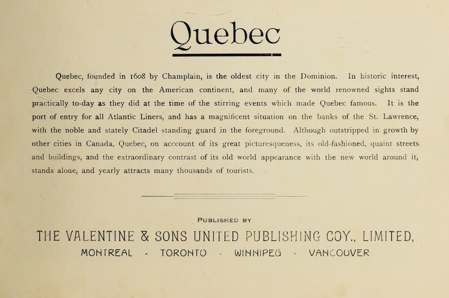 Souvenir of Quebec - Title Page (1910)