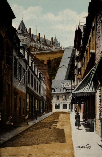Souvenir of Quebec - Sous-le-Fort Street and Elevator (1910)