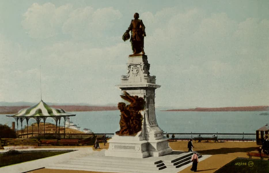 Souvenir of Quebec - The Champlain Memorial, Dufferin Terrace (1910)