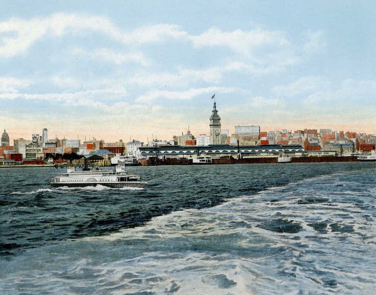 Souvenir of San Francisco, California - The Water Front Approach to Ferry from the Bay (1914)