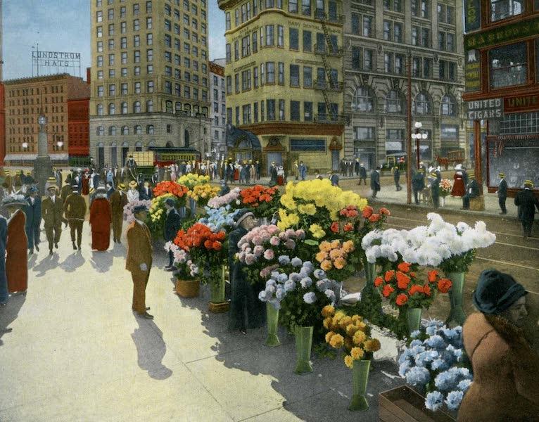 Souvenir of San Francisco, California - Flower Venders Kearney and Market Street (1914)