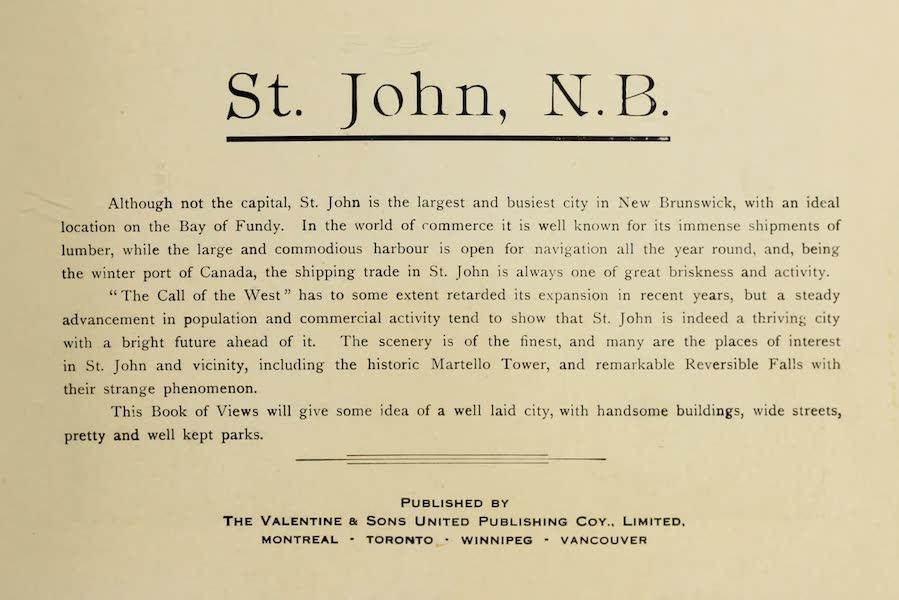 Souvenir of St. John N.B. - Title Page (1910)