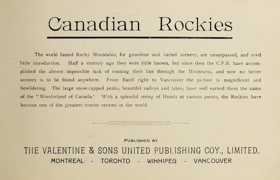 Souvenir of the Rockies [Canadian Rockies] - Title Page (1910)