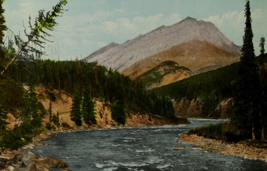 Souvenir of the Rockies [Canadian Rockies] - Spray River and Cascade Mount, Banff (1910)