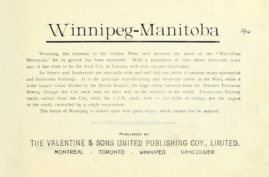 Souvenir of Winnipeg-Manitoba - Title Page (1911)