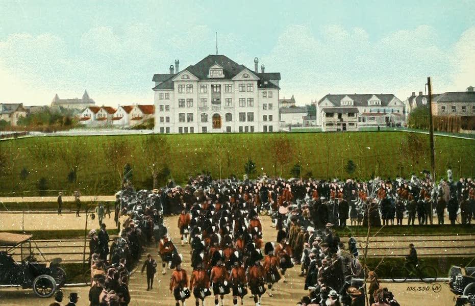 Souvenir of Winnipeg-Manitoba - University of Manitoba, showing 79th Cameron Highlanders on parade (1911)