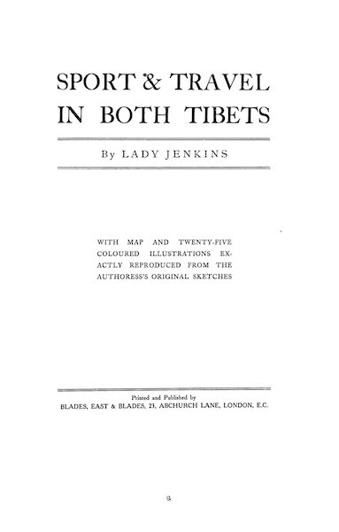 Sport and Travel in Both Tibets - Title Page (1909)