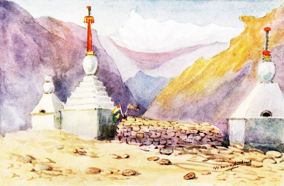 Sport and Travel in Both Tibets - Mani Wall and Chortens Prayer Wall with Tombs (1909)