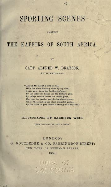 Sporting Scenes Amongst the Kaffirs of South Africa - Title Page (1858)